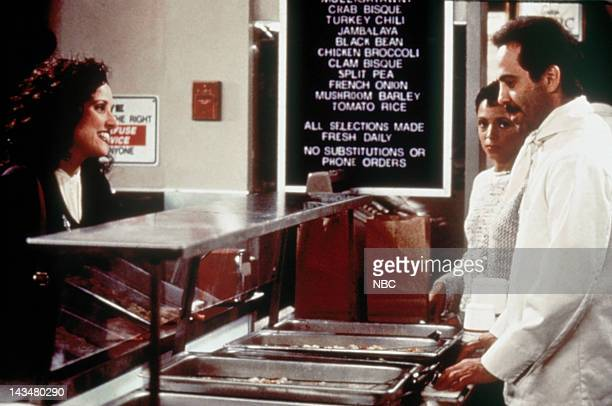 SEINFELD 'The Soup Nazi ' Episode 6 Pictured Julia LouisDreyfus as Elaine Benes Larry Thomas as Soup Nazi