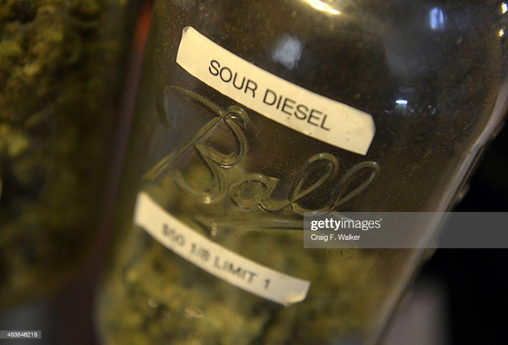 The Sour Diesel strain of marijuana for sale at 3-D Denver Discreet Dispensary in Denver, CO December 04, 2013.