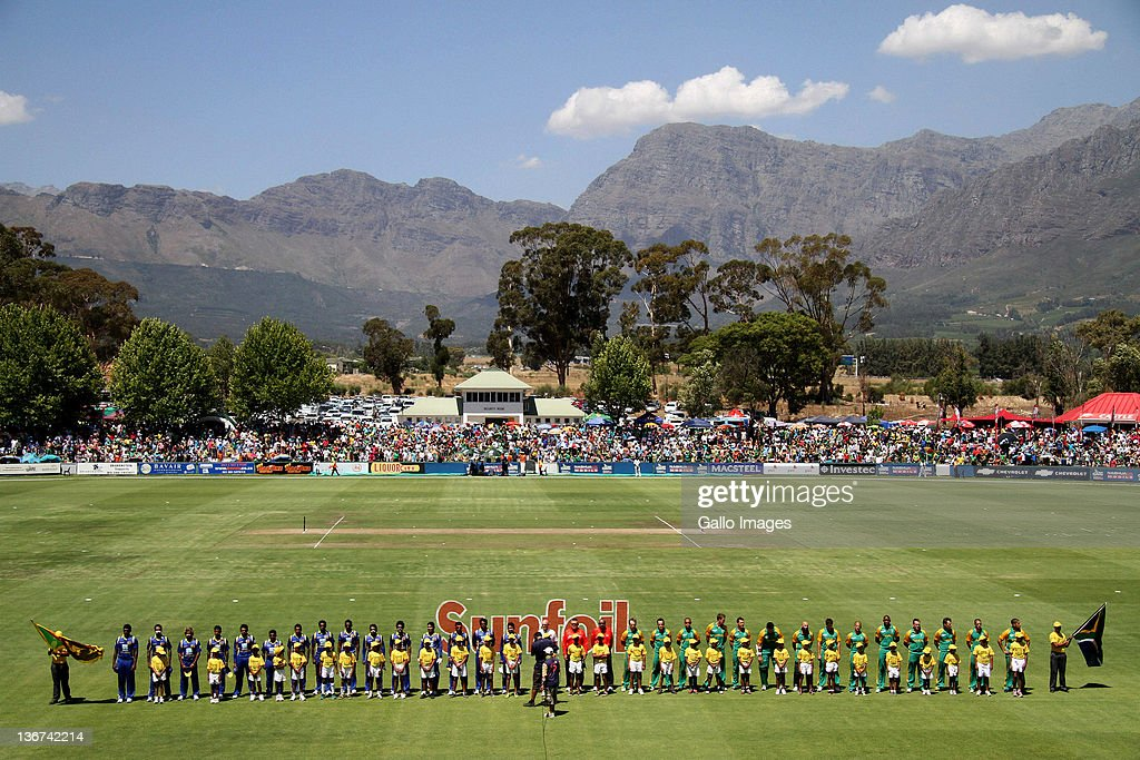 The South Africa and Sri Lanka teams line up for the anthems during the 1st One Day International match between South Africa and Sri Lanka at Boland...
