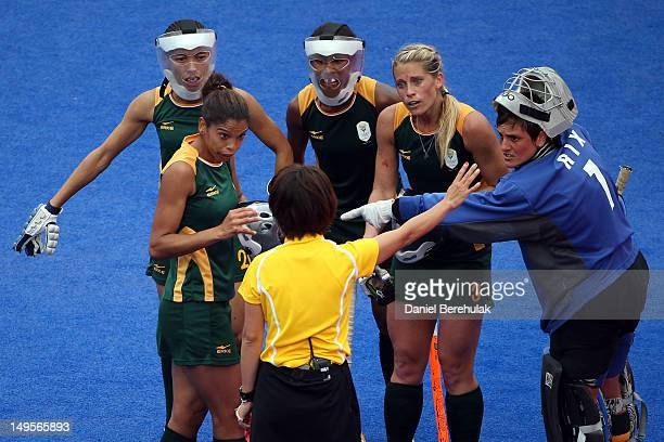 The South Africa defense protest to the referee during the Women's Hockey Match between South Africa and New Zealand on day 4 of the London 2012...