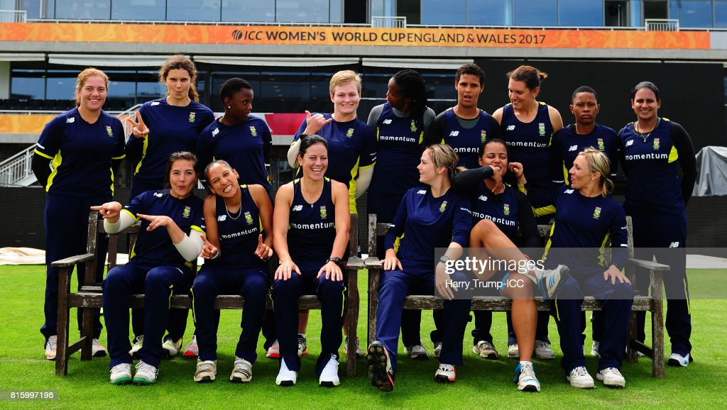 The South Africa players share a laugh as they pose for a photo during the England v South Africa - ICC Women's World Cup: Previews at the Brightside Ground on July 17, 2017 in Bristol, England.