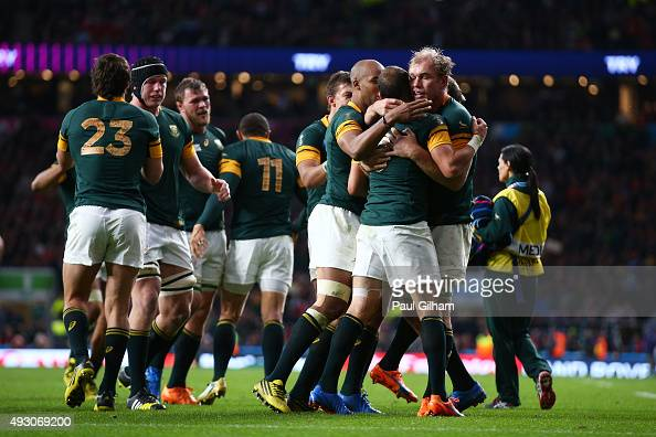 The South Africa team celebrates the try of Fourie Du Preez of South Africa during the 2015 Rugby World Cup Quarter Final match between South Africa...