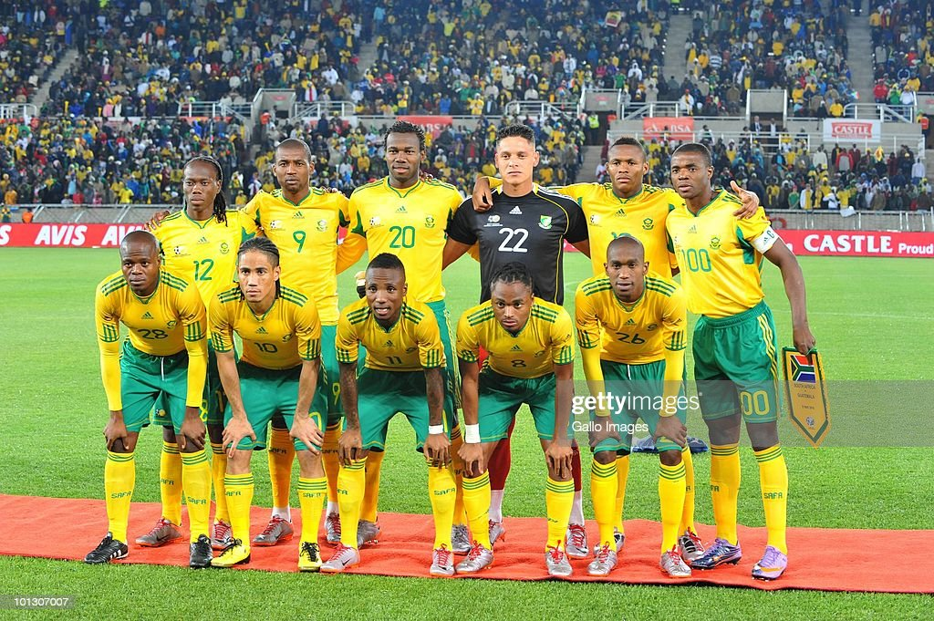The South Africa team poses during the International Friendly match between South Africa and Guatemala at the Peter Mokaba Stadium on May 31, 2010 in Polokwane, South Africa.