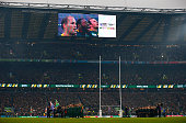 The South Africa team sing the National Anthem during the 2015 Rugby World Cup Semi Final match between South Africa and New Zealand at Twickenham...