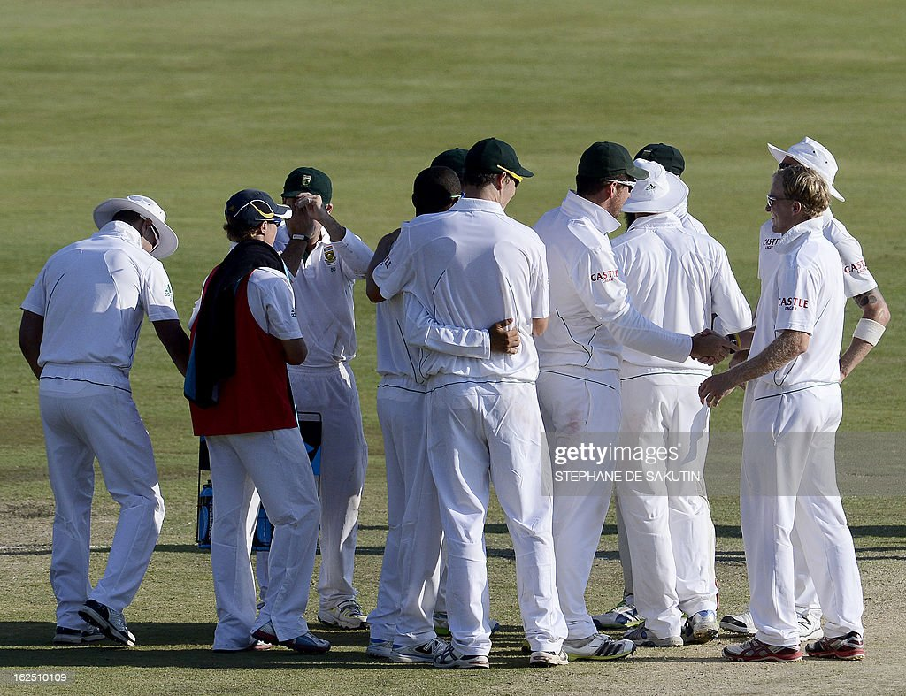 The South African Cricket squad celebrates their victory over Pakistan during the third day of the third Test match between South Africa and Pakistan on February 24, 2013 at Super Sport Park in Centurion.