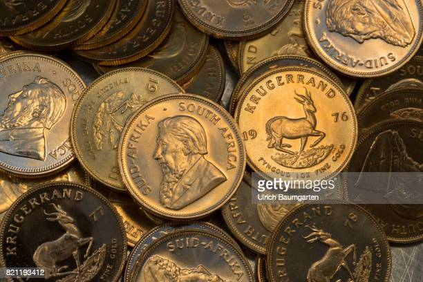 The South African Krugerrand the most famous gold coin in the world celebrates its 50th anniversary in 2017 The photo shows Krugerrand gold coins