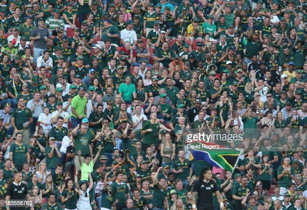 The South African supporters cheer on their team during the Rugby Championship match between South Africa Springboks and the New Zealand All Blacks...