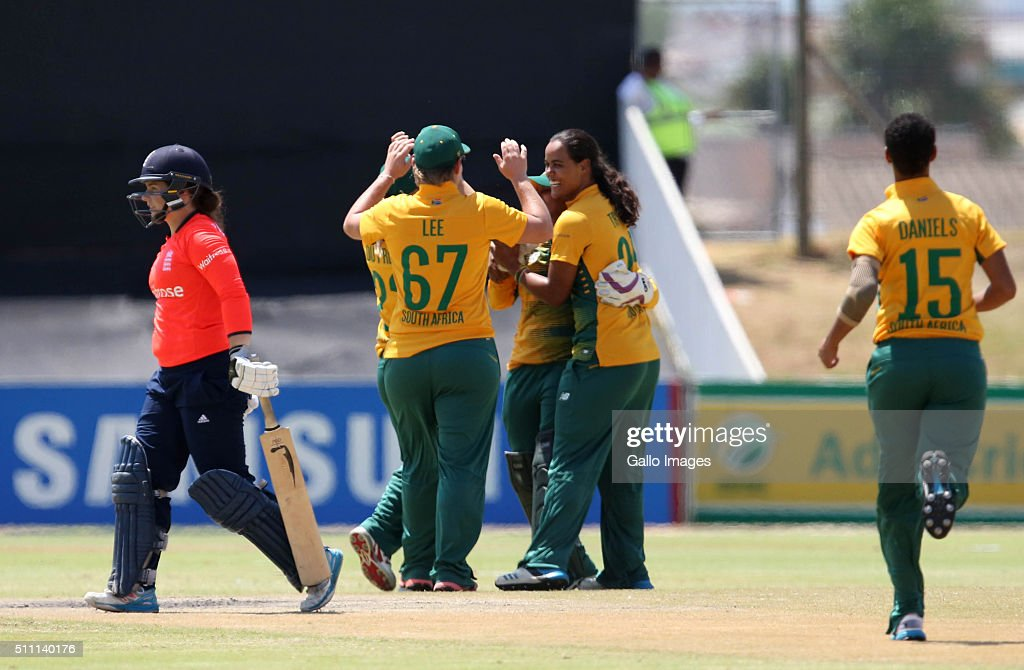 The South African team celebrate a wicket during the 1st T20 International match between South African Women and England Women at Boland Park on...