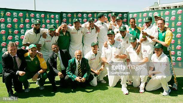 The South African team celebrate after victory in the third test match and the series against Pakistan at Sahara Park Newlands on January 28 2007 in...