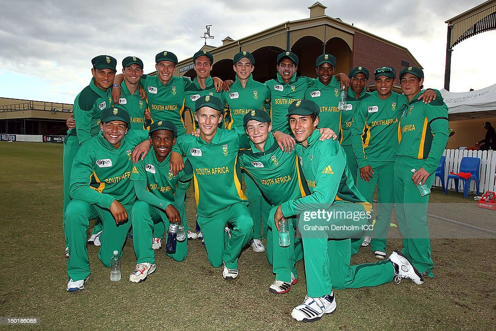 The South African team pose following victory against Bangladesh in the ICC U19 Cricket World Cup 2012 match between South Africa and Bangladesh at Allan Border Field on August 12, 2012 in Brisbane, Australia.