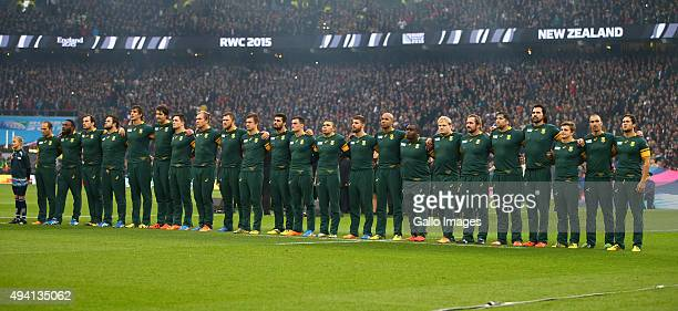 The South African team sings the National Anthem during the Rugby World Cup Semi Final match between South Africa and New Zealand at Twickenham...