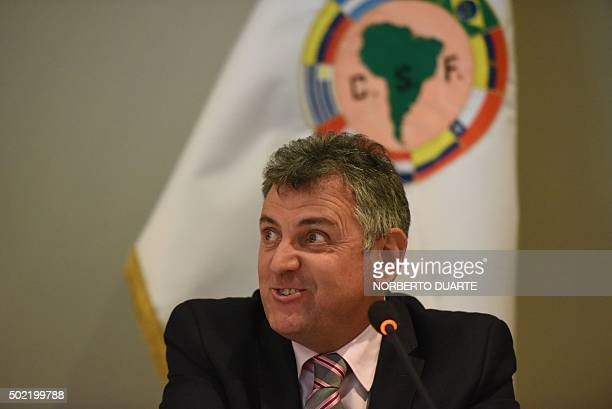 The South American Football Federation interim president Wilmar Valdez gestures during a press conference in Asuncion on December 21 2015 Uruguayan...