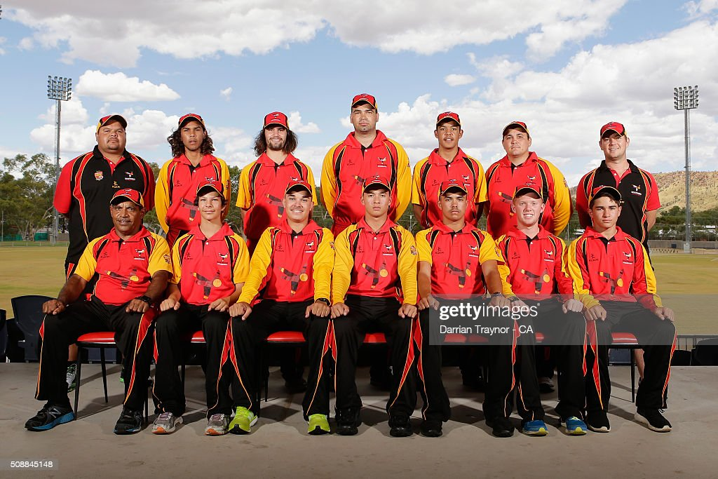 The South Australian team pose for a photo on media day during the National Indigenous Cricket Championships on February 7, 2016 in Alice Springs, Australia.
