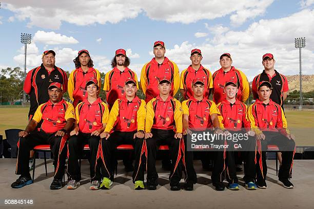 The South Australian team pose for a photo on media day during the National Indigenous Cricket Championships on February 7 2016 in Alice Springs...