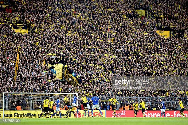 The south booth 'Die Gelbe Wand' of Dortmund is seen during the Bundesliga match between Borussia Dortmund and FC Schalke 04 at Signal Iduna Park on...