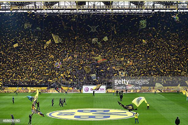 The south booth 'Die Gelbe Wand' of Dortmund is seen prior to the Bundesliga match between Borussia Dortmund and FC Bayern Muenchen at Signal Iduna...