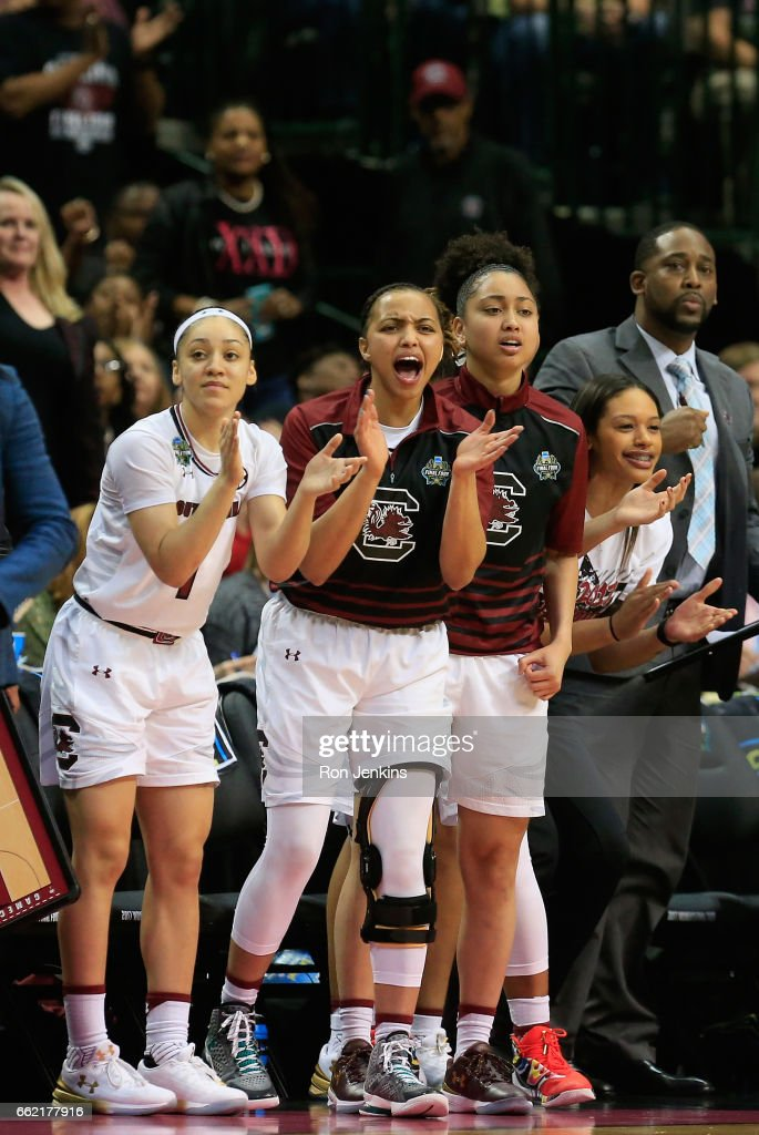 The South Carolina Gamecocks bench reacts against the Stanford Cardinal in the second half during the semifinal round of the 2017 NCAA Women's Final Four at American Airlines Center on March 31, 2017 in Dallas, Texas. South Carolina Gamecocks won 62-53.