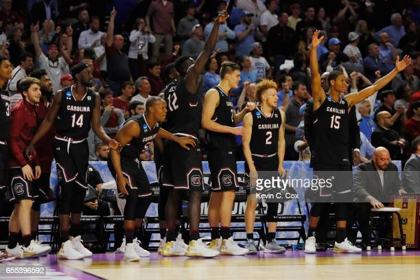 The South Carolina Gamecocks bench reacts in the second half against the Duke Blue Devils during the second round of the 2017 NCAA Men's Basketball...