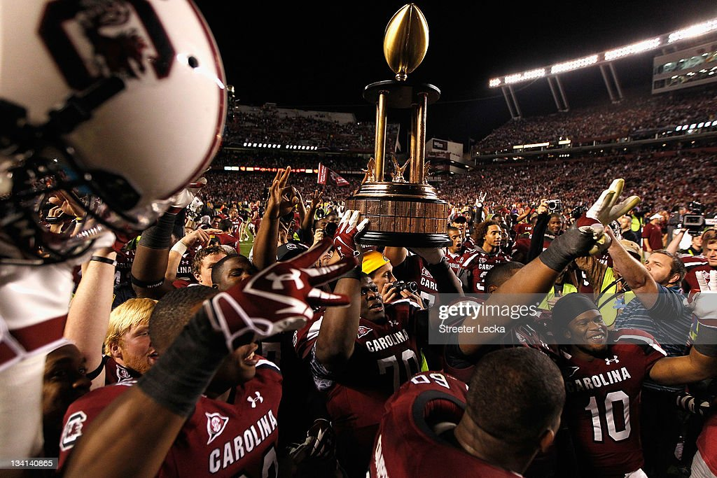 The South Carolina Gamecocks celebrate after defeating the Clemson Tigers 3413 at WilliamsBrice Stadium on November 26 2011 in Columbia South Carolina