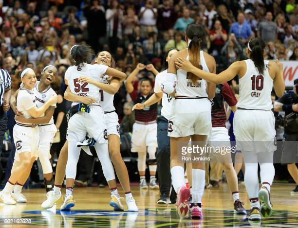 The South Carolina Gamecocks celebrate their 6253 win over the Stanford Cardinal during the semifinal round of the 2017 NCAA Women's Final Four at...