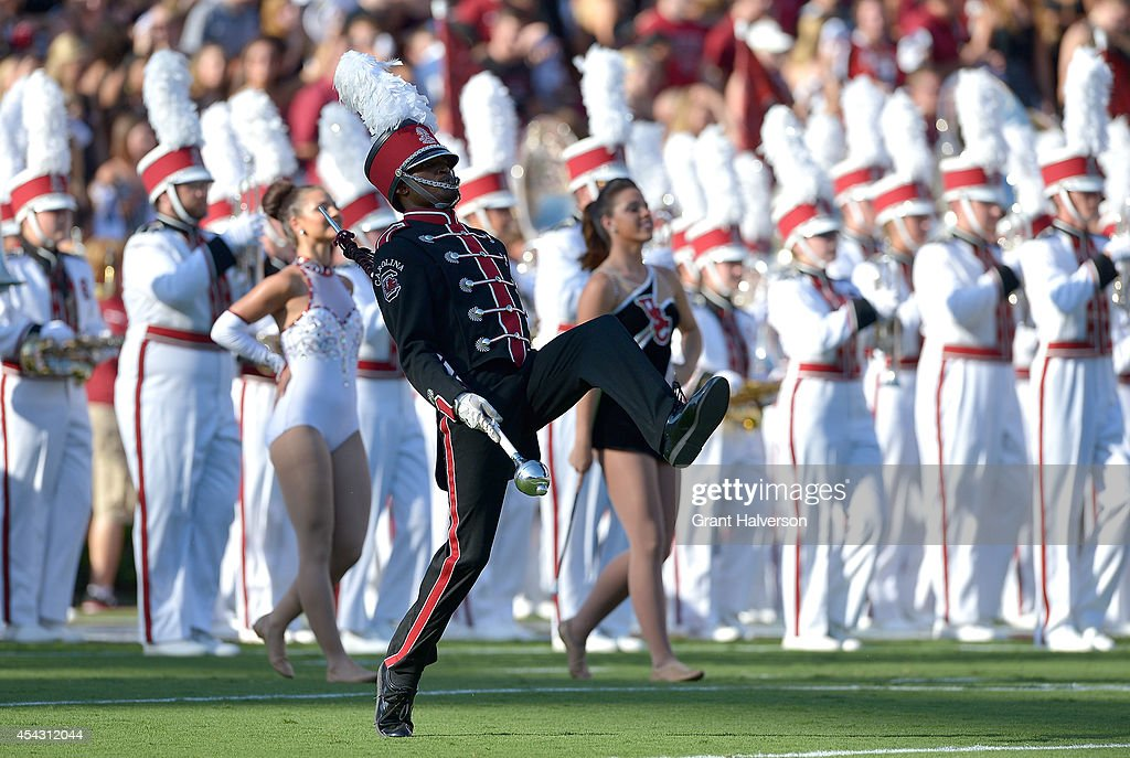 The South Carolina Gamecocks marching band performs before a game against the Texas A&M Aggies at Williams-Brice Stadium on August 28, 2014 in Columbia, South Carolina.