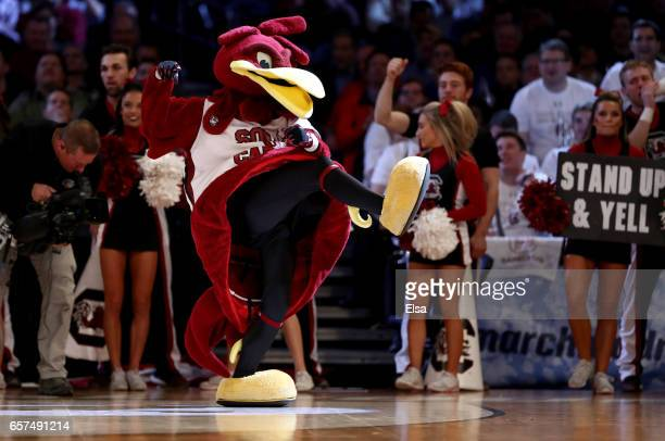 The South Carolina Gamecocks mascot performs against the Baylor Bears during the 2017 NCAA Men's Basketball Tournament East Regional at Madison...