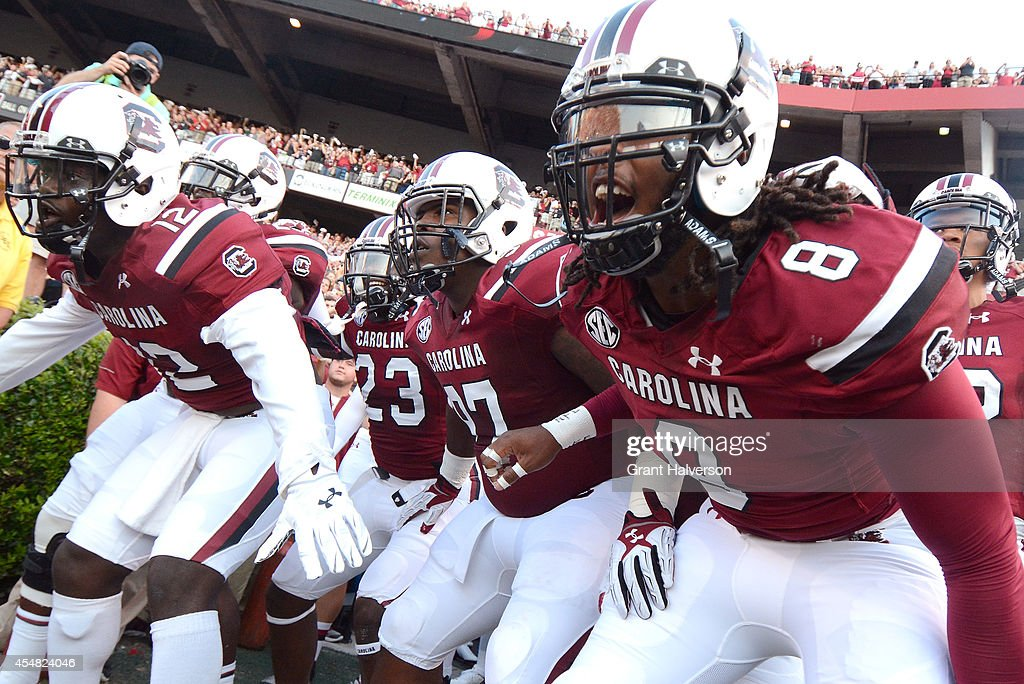 The South Carolina Gamecocks prepare to take the field for a game against the East Carolina Pirates at WilliamsBrice Stadium on September 6 2014 in...