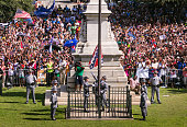 The South Carolina Highway Patrol Honor Guard removes the Confederate Battle Flag from the State House grounds during a ceremony on Friday July 10 in...
