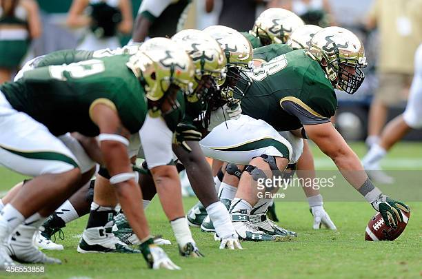 The South Florida Bulls line up against the Maryland Terrapins at Raymond James Stadium on September 6 2014 in Tampa Florida