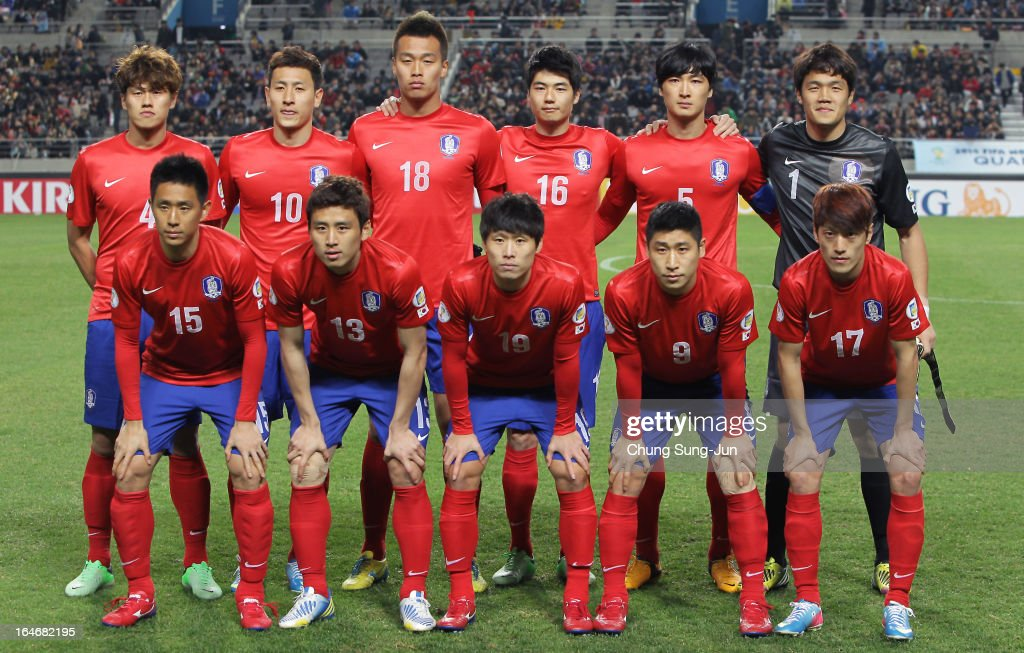 The South Korea team line up during the FIFA World Cup Qualifier match between South Korea and Qatar at Olympic Stadium on March 26, 2013 in Seoul, South Korea.