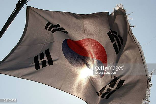 The South Korean national flag flies from a boat on Baengnyeong Island on June 15 South Korea The South Korean Island is situated near the Northern...