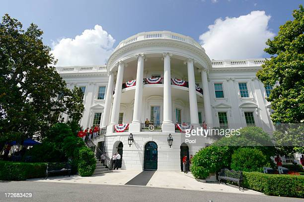 The South Lawn of the White House is prepared for a barbeque hosted by US President Barack Obama and first lady Michelle Obama on July 4 2013 in...