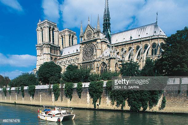 The south side of NotreDame Cathedral with the Seine in the foreground Ile de la Cite Paris IledeFrance France