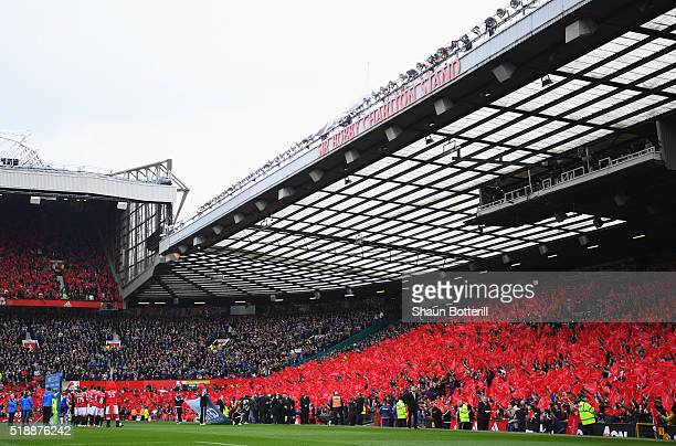 The South Stand is unveiled as the newly renamed Sir Bobby Charlton to honour 60 years since his Manchester United debut prior to the Barclays...