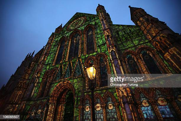 The South Transept of York Minster is illuminated with a 'son et lumiere' using images and lights scaled exactly to the architecture as part of the...