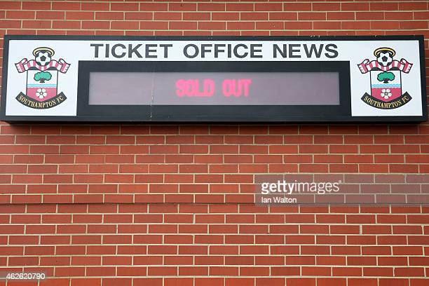 The Southampton ticket office indicates all tickets have been sold for the fixture during the Barclays Premier League match between Southampton and...