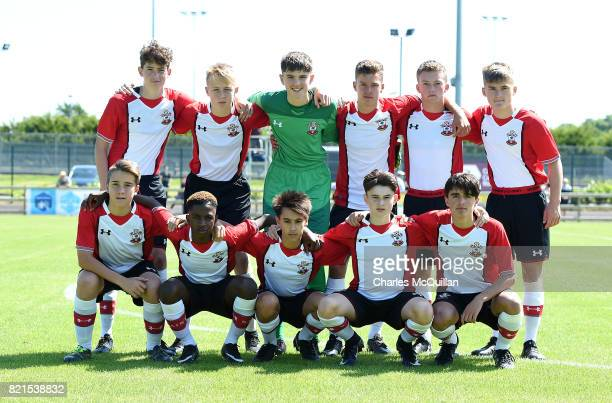 The Southampton u16 starting XI before the NI Super Cup junior section game between Southampton and County Antrim at the Riada Stadium on July 24...