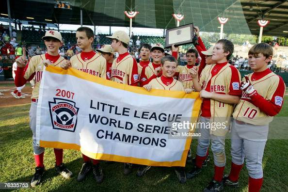 The Southeast team from Warner Robins Georgia celebrate after defeating the Japanese team from Tokyo Japan during the Little League World Series...