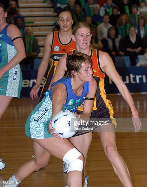 The Southern Stings Tania Dalton left takes the ball in front of Waikato Magic Casey Williams in the final of the National Bank Netball Cup at...
