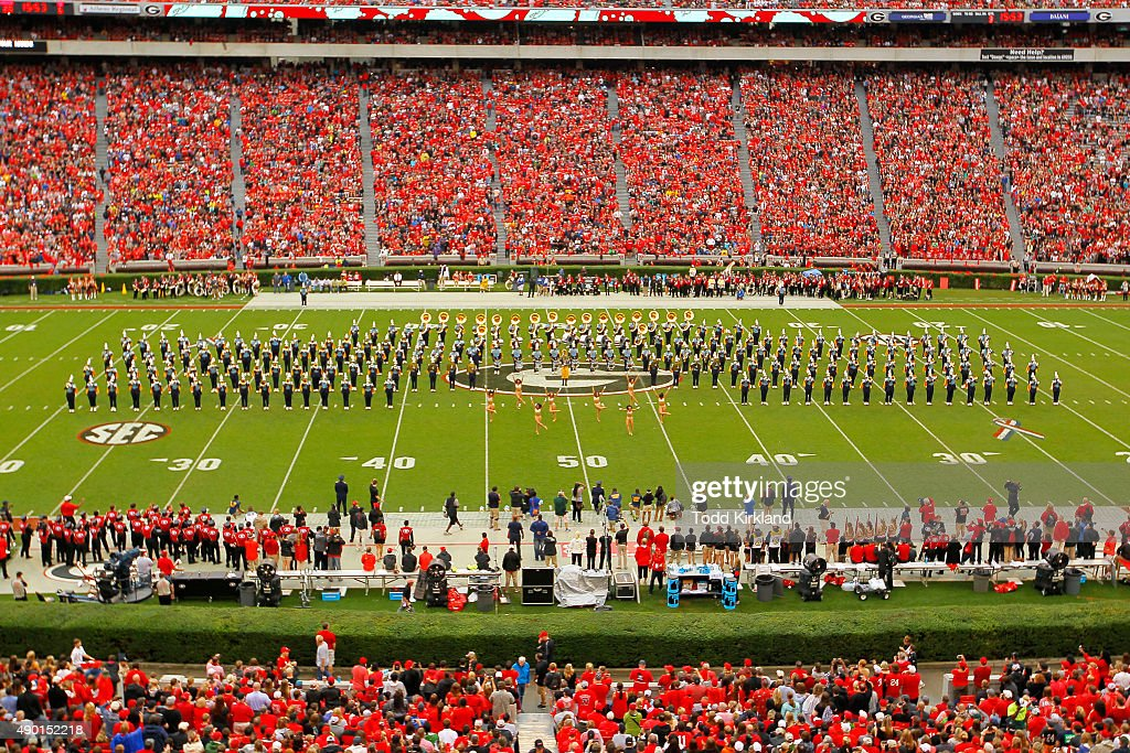 The Southern University Jaguars Human Jukebox Band performs at halftime of the game against the Georgia Bulldogs on September 26 2015 at Sanford...