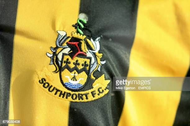 The Southport FC crest on the a shirt