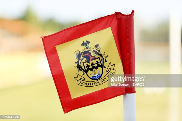 The Southport FC crest on the corner flag