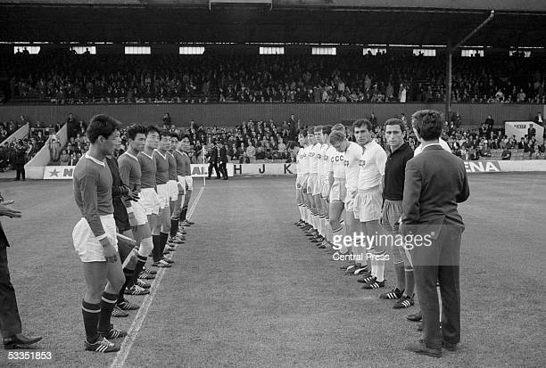The Soviet and North Korean teams line up before their World Cup first round match at Ayresome Park Middlesbrough 12th July 1966 The Russians won 30