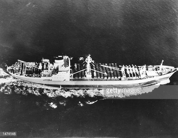 The Soviet ship Kasimov is shown just off Cuba with fifteen I128 aircraft on board December 10 1962 Fuselage crates on the ship were opened by the...