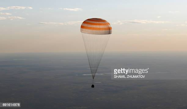 The Soyuz MS03 space capsule carrying the International Space Station crew of Russian cosmonaut Oleg Novitskiy and French astronaut Thomas Pesquet...
