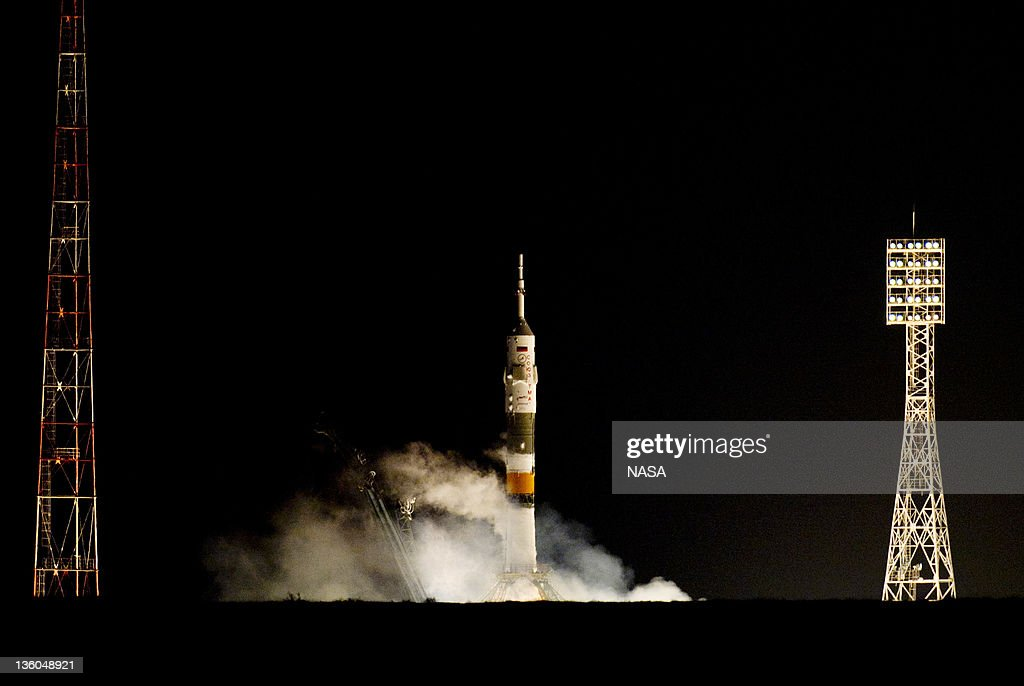 The Soyuz TMA-03M rocket launches on December 21, 2011 at Baikonur Cosmodrome in Kazakhstan. The Soyuz TMA-03M spacecraft is due to launch today from Baikonur Cosmodrome, ahead of a five month expedition to the International Space Station.