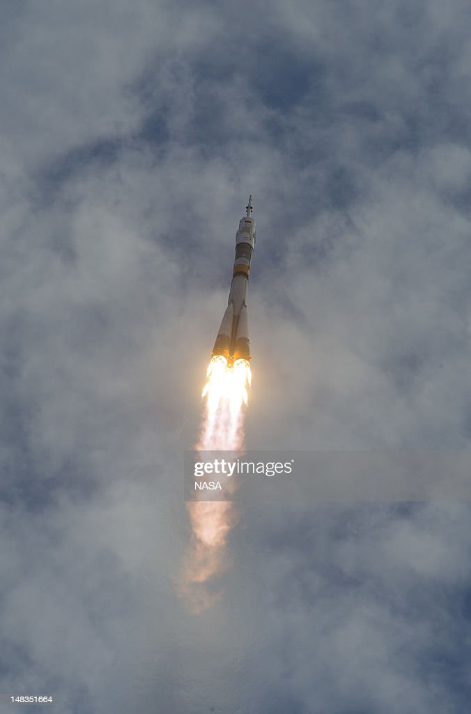 The Soyuz TMA-05M rocket launches from the Baikonur Cosmodrome on July 15, 2012 in Kazakhstan. The spacecraft is carrying Expedition 32 Soyuz Commander Yuri Malenchenko, NASA Flight Engineer Sunita Williams and JAXA (Japan Aerospace Exploration Agency) Flight Engineer Akihiko Hoshide to the International Space Station.