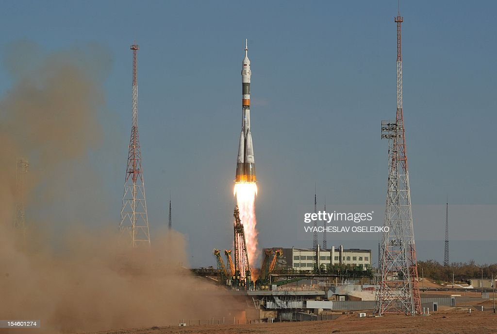 The Soyuz TMA-06M spacecraft blasts off from the Russian leased Kazakhstan's Baikonur cosmodrome, on October 23, 2012. A Russian rocket carrying an international crew of US astronaut Kevin Ford together with Russian cosmonauts Oleg Novitskiy and Evgeny Tarelkin blasted off today without a hitch to the International Space Station (ISS).