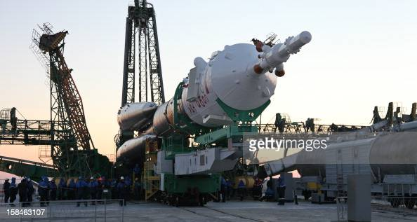 The Soyuz TMA06M spaceship is mounted on a launch pad at the Russian leased Kazakh Baikonur cosmodrome on December 17 2012 The launch of the of the...