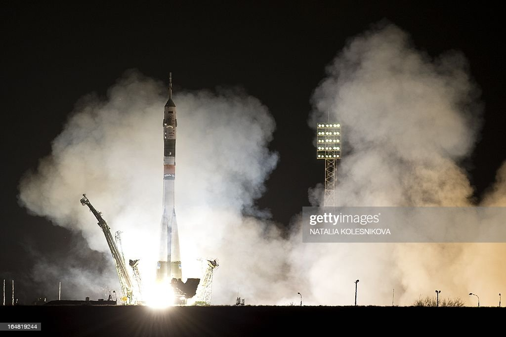 The Soyuz TMA-08M spacecraft blasts off from the Russian leased Kazakhstan's Baikonur cosmodrome early on March 29, 2013. A Russian rocket carrying an international crew of US astronaut Christopher Cassidy together with Russian cosmonauts Pavel Vinogradov and Alexander Misurkin blasted off today without a hitch to the International Space Station (ISS).